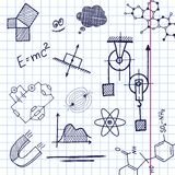 Vector hand draw phisics elements. On exercise book sheet background. Eps10 Royalty Free Stock Image