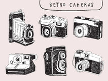 Vector Hand Draw Retro Cameras Royalty Free Stock Photo