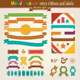 Vector Hand Draw Set Of Retro Ribbons And Labels. Hand Draw Set Of Retro Ribbons And Labels. Vector illustration Stock Photos