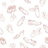 Hand draw sketch of seamless background : sketch of man, woman and children shoes. Vector hand draw sketch of seamless background : sketch of man, woman and Stock Image