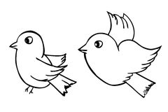 Vector hand draw sketch, two outline Birds, isolated on white Stock Image