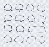 Vector hand draw stickers of speech bubbles line set on transparent background. For communication,  your message, chat. 10 eps Royalty Free Stock Photos
