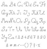Vector hand drawing alphabet. Calligraphical font. Royalty Free Stock Photos