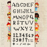 Vector Hand drawing alphabet and numbers. Hatched symbols on a piece notebook surrounded by a border of the children royalty free illustration