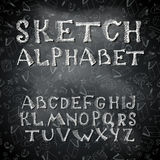 Vector Hand drawing alphabet and numbers. Hatched symbols on violet background Royalty Free Stock Photos