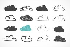Vector hand drawing clouds icons Royalty Free Stock Image