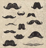 Vector hand drawing different hipster moustache Stock Image