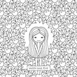 Vector hand drawing illustration with Eve and floral background. Coloring book page for adults Royalty Free Stock Image