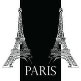 Vector hand drawing illustration with two Eiffel towers. Vector hand drawing illustration with two black and white Eiffel towers vector illustration