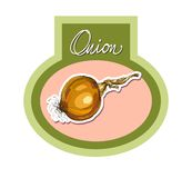 Vector hand drawing realistic stickers  onions Stock Images