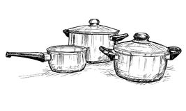 Vector Hand Drawing of Set of Cooking Pots. Vector artistic pen and ink hand drawing illustration of set of cooking pots royalty free illustration