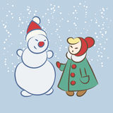 Vector hand drawing snowman and girl Royalty Free Stock Images
