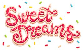 Sweet Dreams lettering. Vector hand drawing text Sweet Dreams. Sweet dreams lettering like cookies with candies Royalty Free Stock Images