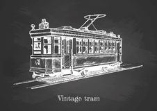Tramway on blackboard. Vector hand drawing of vintage tram on chalkboard Stock Images