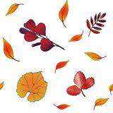 Seamless pattern of abstract of autumn leaves for white background. Vector hand drawn abstract of autumn leaves for white background. Decorative seamless pattern stock illustration