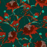 Vector hand drawn abstract illustration of red peony flowers and green leaves seamless pattern. royalty free illustration