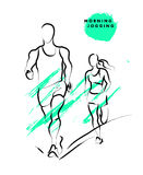 Vector hand drawn active people sketch  on white background. Royalty Free Stock Photography