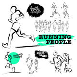 Vector hand drawn active people sketch  on white background. Stock Photos