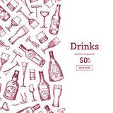 Vector hand drawn alcohol drink bottles and glasses background illustration with place for text stock illustration