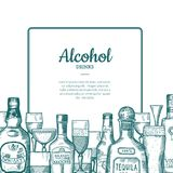 Vector hand drawn alcohol drink bottles and glasses frame with place for text with below illustration. Alcohol drink bottle, hand drawn beer and whiskey Stock Illustration