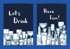 Vector hand drawn alcohol drink bottles and glasses set of card templates. For bar or night club illustration Royalty Free Illustration