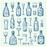 Vector hand drawn alcohol drink bottles and glasses set of on cell sheet illustration. Absinthe and tequila, rum and vodka stock illustration