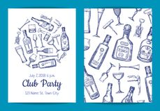 Vector hand drawn alcohol drink bottles and glasses. Card of set, flyer or brochure template for bar or night club illustration royalty free illustration