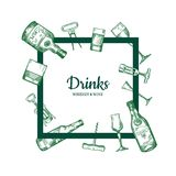 Vector hand drawn alcohol drink bottles and glasses stock illustration