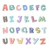 Vector hand-drawn alfabet, doopvont, brieven 3D krabbel ABC voor jonge geitjes Stock Afbeeldingen