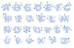 Vector hand-drawn alfabet met bloemendecoratie, doopvont, brieven 3D krabbel ABC voor jonge geitjes Royalty-vrije Stock Foto's