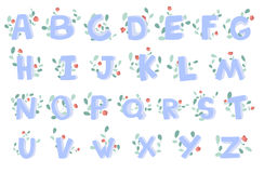 Vector hand-drawn alphabet with floral decoration, font, letters. 3D doodle ABC for kids. Royalty Free Stock Photos