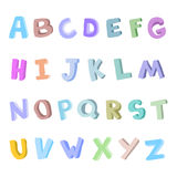 Vector hand-drawn alphabet, font, letters. 3D doodle ABC for kids. Stock Photography