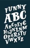Vector hand drawn alphabet.Hand drawn brush letters.Expressive brush letters isolated on black background. Stock Image