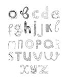 Vector hand drawn alphabet. Isolated on white background, doodle letters collection Stock Photos