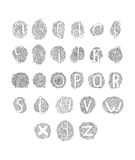 Vector hand drawn alphabet. Isolated on white background, doodle letters collection Royalty Free Stock Images