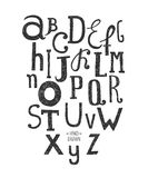 Vector hand drawn alphabet. Isolated on white background, doodle letters collection Stock Photo