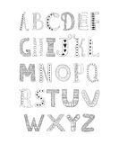 Vector hand drawn alphabet. Isolated on white background, doodle letters collection Stock Image
