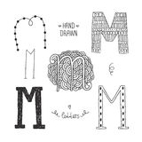 Vector hand drawn alphabet. Letter m. Doodle letters set isolated on white background Stock Images