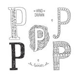 Vector hand drawn alphabet. Letter p. Doodle letters set isolated on white background Royalty Free Stock Photo