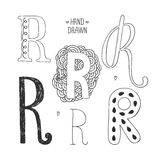 Vector hand drawn alphabet. Letter r. Doodle letters set isolated on white background Stock Photography