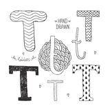 Vector hand drawn alphabet. Letter t. Doodle letters set isolated on white background Royalty Free Stock Photography