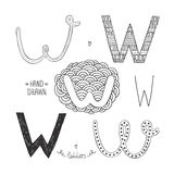 Vector hand drawn alphabet. Letter w. Doodle letters set isolated on white background Royalty Free Stock Image