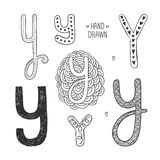 Vector hand drawn alphabet. Letter y. Doodle letters set isolated on white background Stock Images