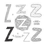 Vector hand drawn alphabet. Letter z. Doodle letters set isolated on white background Royalty Free Stock Image