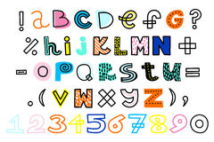 Vector hand drawn alphabet and numbers. Funky colors. Vector hand drawn alphabet and numbers. Funky, bright colors Stock Photos