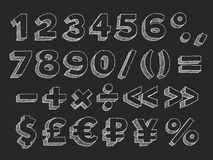 Vector hand drawn alphabet numbers. Part 3 of 3. Vector hand drawn chalk doodle with hatching isolated on black background numbers, brackets, mathematical and Stock Image