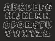 Vector hand drawn alphabet uppercase. Part 1 of 3. Vector hand drawn alphabet chalk doodle with hatching isolated on black background, abc symbols sans serif Royalty Free Stock Photo