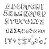 Vector hand drawn alphabet, Upperrcase and Royalty Free Stock Images