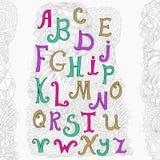 Vector hand drawn alphabet on white background and cute doodle background. Vector hand drawn alphabet on white background and cute doodle. ABC for your design vector illustration