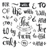 Vector hand drawn ampersands and catchwords. The, with, from, and, only, by, for, of. Hand lettering with decorative design elements  on white background Royalty Free Stock Photography